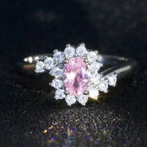 """Pink Oval Cut """"Sapphire"""" Silver Ring"""